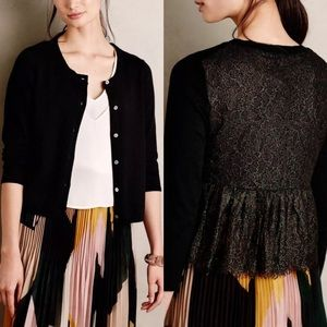 Anthropologie Knitted & Knotted Lace Cardigan M